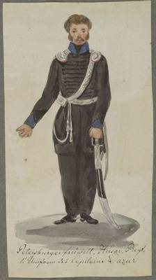 1. Uniform des Kapitäns d'Azur, Petersburger freiwilliges Husarenregiment, 1813/14